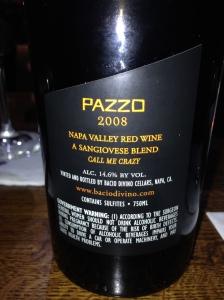 Pazzo back label